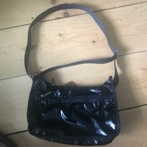 LESPORTSAC Black Shiny Nylon Crossbody Bag Purse